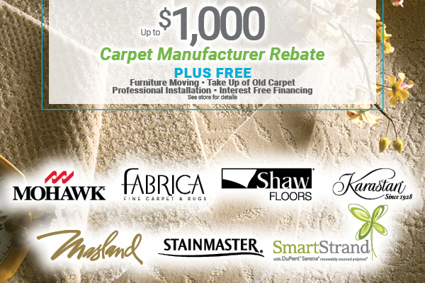 Up to $1000 carpet manufacturer rebate plus free furniture moving, take up of old carpet, professional installation, and interest free financing at Erskine Interiors