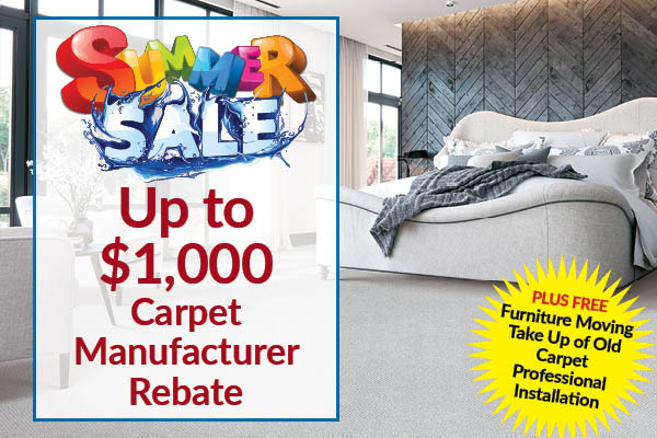 Up to $1,000 carpet manufacturer rebate during the summer sale at Erskine Interiors!  Free furniture moving, take up of old carpet & professional installation!