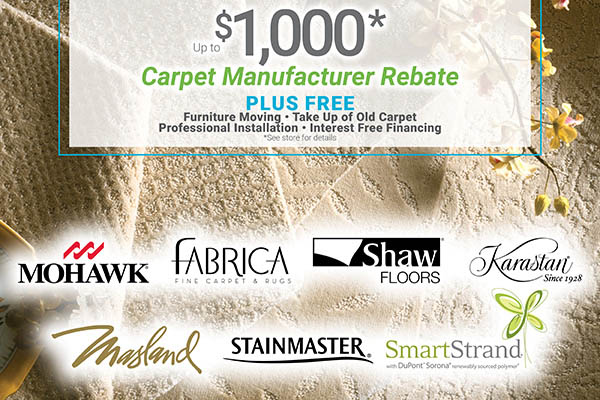 Up to $1,000 carpet manufacturer rebate plus free furniture moving, take up of old carpet, professional installation and interest free financing at Erskine Interiors!