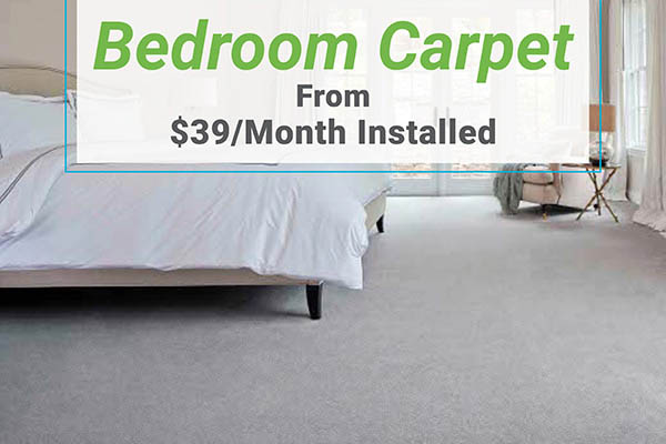Bedroom carpet from $39/mo installed at Erskine Interiors!