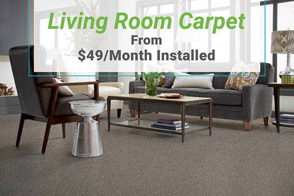 Living room carpet from $49/mo installed at Erskine Interiors!